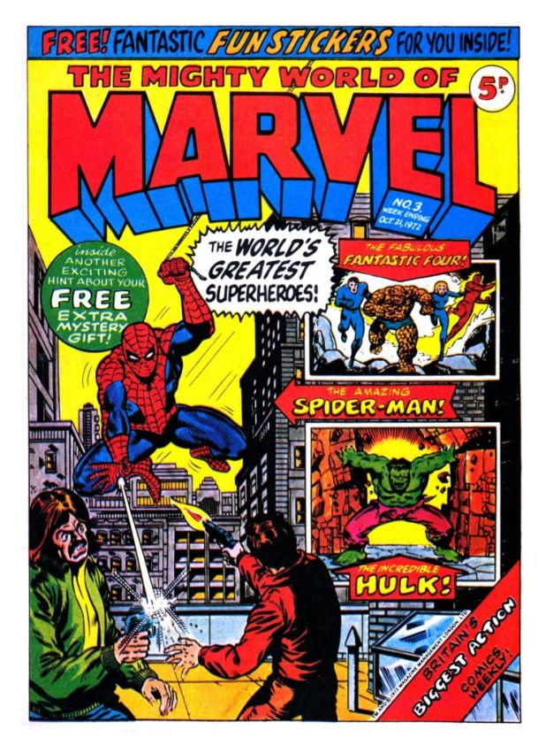 The published cover of The Mighty World Of Marvel #3, cover dated 21st October 1972. Art by Jim Starlin.
