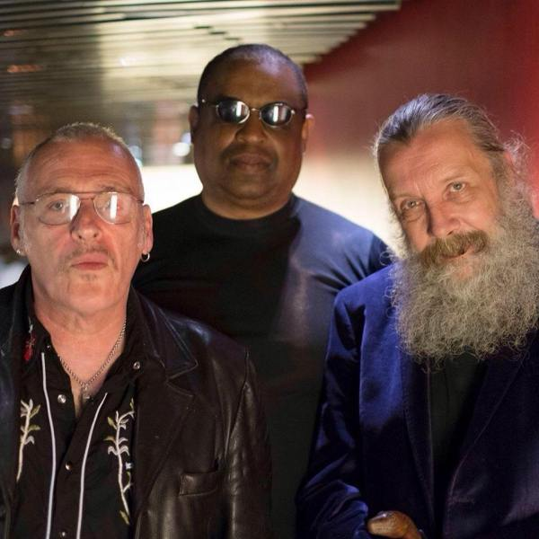 Charles Shaar Murray, Alan Mitchell and Alan Moore. Photo: Mitch Jenkins (Used with his kind permission)