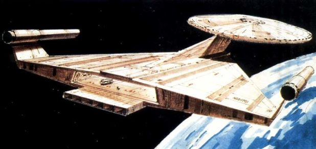 A re-vamped USS Enterprise design by Ralph McQuarrie, created for an aborted 1970s feature