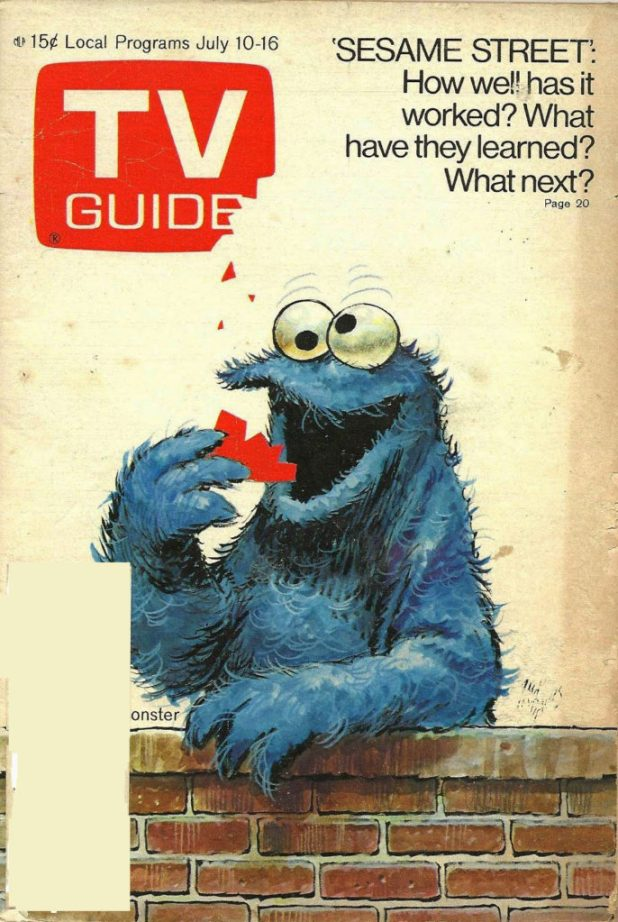 """Jack Davis """"Cookie Monster"""" cover for TV Guide, published in July 1971"""