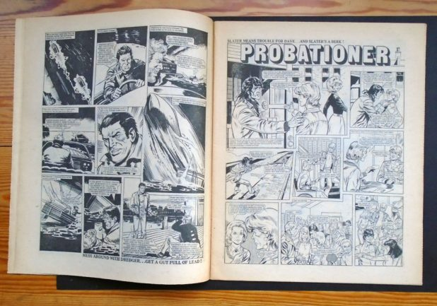 """The third page of""""Dredger"""" and the opening page of """"Probationer"""" from the copy of Action 37 sold on eBay in 2016"""