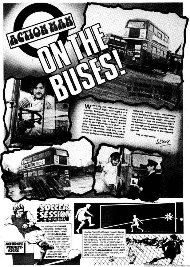 Action Man 7: 27th March – Learning to drive a London Transport double-decker bus on a skid pan