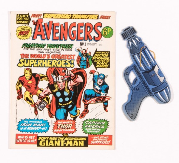 Avengers 1 (1973) Marvel Comics UK. With free gift Wonder-weapon from issue 2. Neat ink address to back cover margin