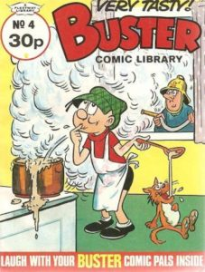 The very recognisable Buster on the cover of an issue of Buster Comic Library, a digest sized publication which accompanied the regular Buster weekly, which ran for 30 issues between September 1984 and November 1985.