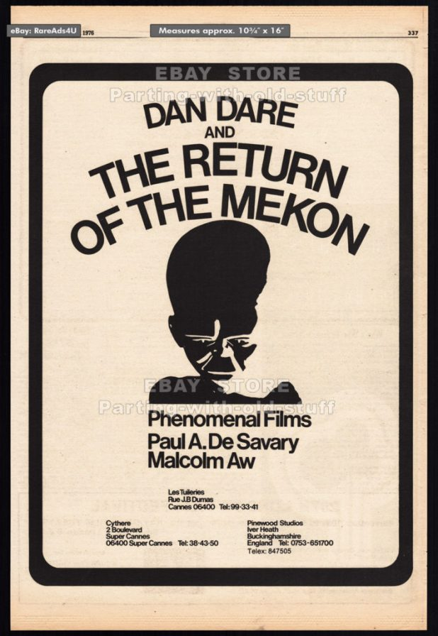 Dan Dare: Return of the Mekon - Film ad, Variety 1976