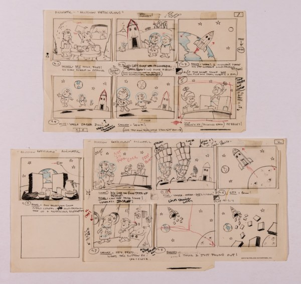 Flintstones 'Mission Ridiculous' original artwork storyboards (early 1970s) for the animated ad for Post Fruity and Post Cocoa Pebbles cereal 'The good tasting part of a nutritious breakfast'. Barny and Fred run out of Pebbles Cereal so take their spaceship from Bedrock to Lunarock to find more... ' Yabba Dabba Delicious!' 14 x 9 ins (3 pages)