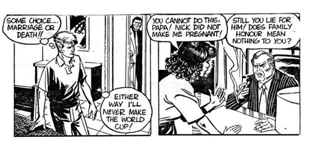 Striker's early days as a line art strip