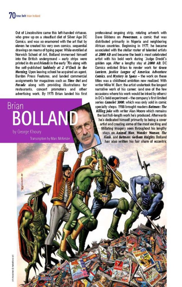 A page from the Brian Bolland feature in the digital edition of True Brit