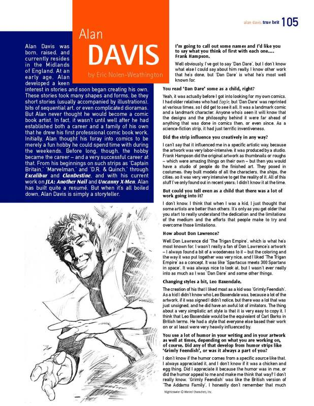 A page from the Alan Davis feature in the digital edition of True Brit