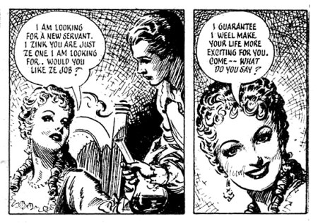 Art from a comic strip biography of the famous cross-dressing pirate Mary Read, for the weekly paper Answers, published in 1952. Art by Reginald Heade. (With thanks to Phil Rushton).