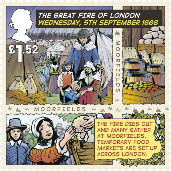 Great Fire of London Stamp -  Stamp £1.52 - 5th September