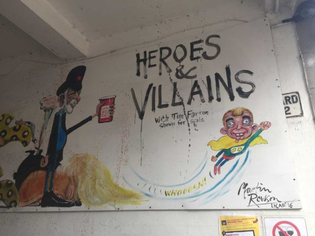 Guardian cartoonist Martin Rowson's mural near Tim Farron MP's office...