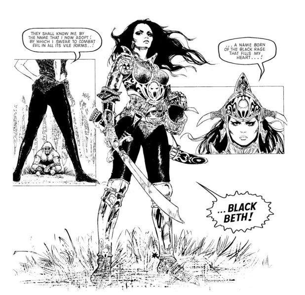 """""""Black Beth"""" was a strip shoehorned into a Scream! special, probably intended for a more adult title that never got off the ground. Art by Blas Gallego"""