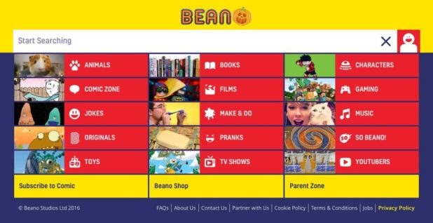 """""""Drilling down"""" into the Beano web site brings you to some links to the comic and subscriptions, although they're still not very prominent."""