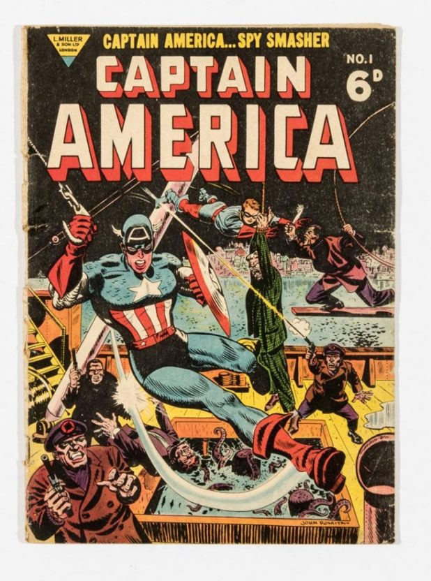 Captain America 1 (1954), the British L. Miller reprint of US Captain America #77 with John Romita cover and story art. With The Human Torch by Dick Ayres.
