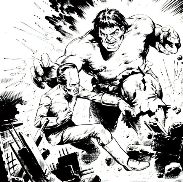 The Hulk takes on The Leader on a Marvel UK cover by Steve Dillon
