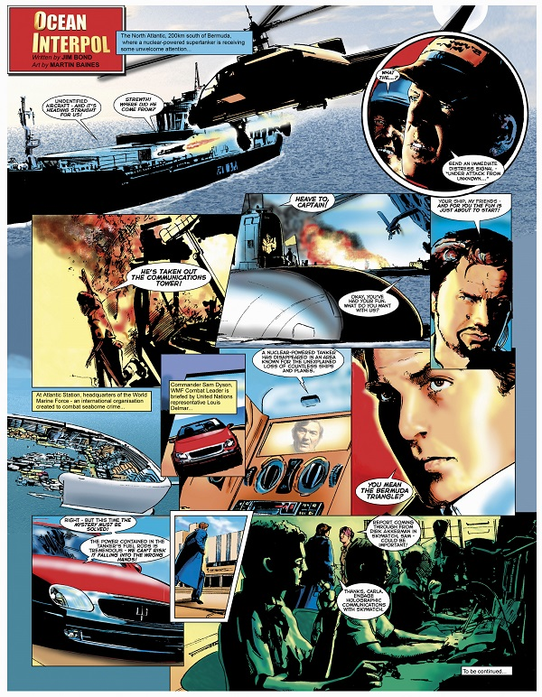 'Ocean Interpol' single page format written by Jim Bond, art by Martin Baines, colour by John Ridgway