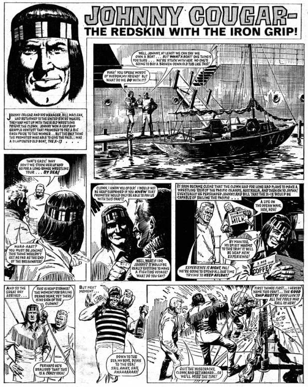 "A page of ""Johnny Cougar"" from Tiger and Hurricane, cover dated 16th November 1968. Art by John Gillat. Via the British Comic Art blog"