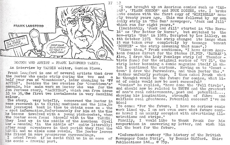 TARDIS Issue 3 - Frank Langford Interview