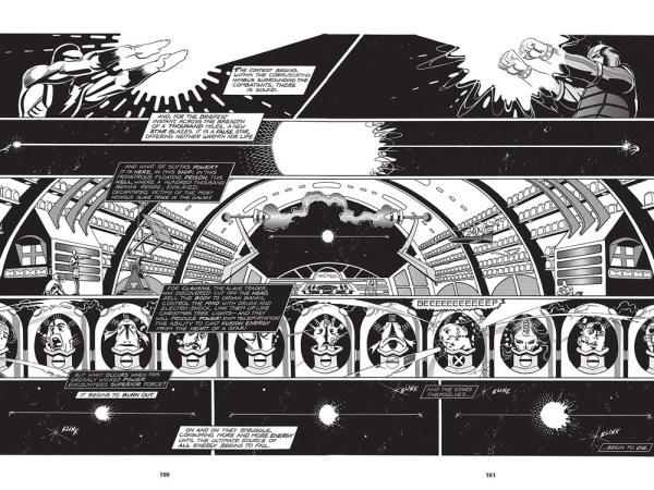 A stunning spread from Nexus by Mike Baron and Steve Rude, in which the mental energy of disembodied heads provides a power source