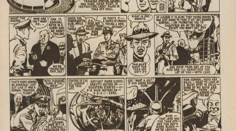 """The October 1952 edition of the the ABC Film Review featured this """"Dan Dare"""" strip by his co-creator, Frank Hampson"""