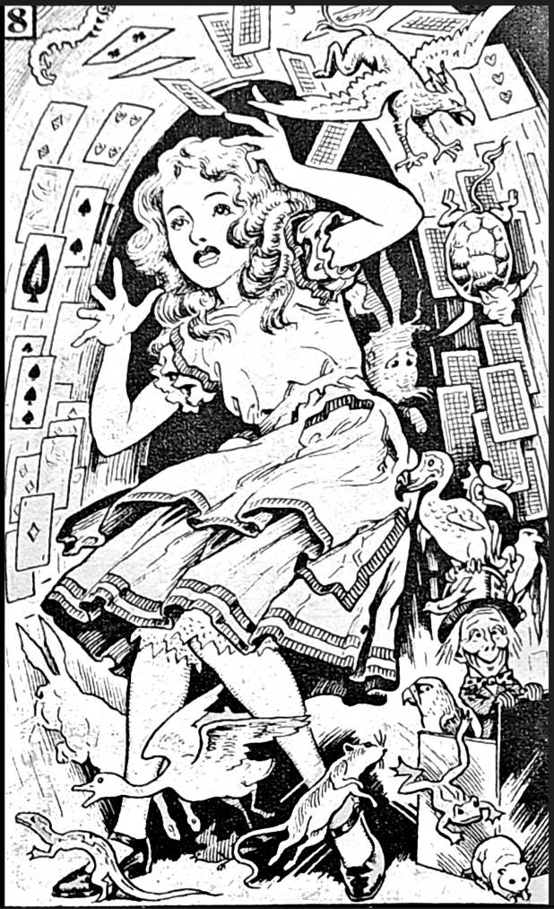 "A panel from the final instalment of ""Alice in Wonderland"" from Comet #78. A possible Reginald Heade fill-in piece?"