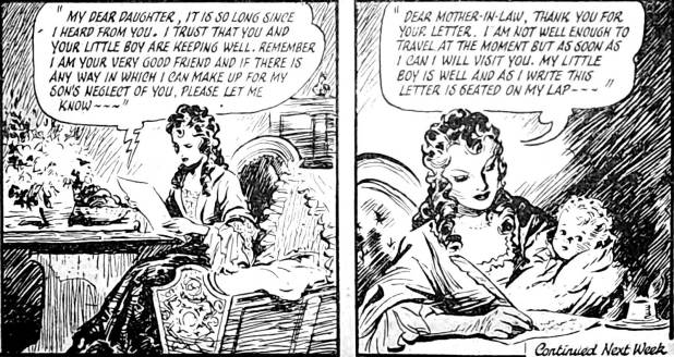Example panels from the first instalment of Mary Read – Soldier and Pirate (Answers, 15 March 1952).