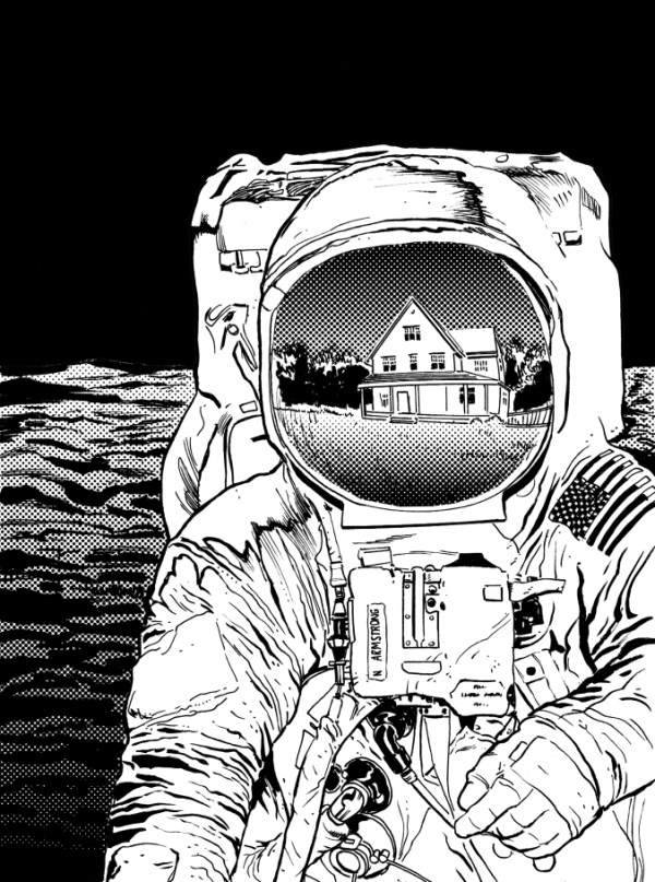 "Mike Collins ""warm up"" sketch for Apollo, his first step on Mike's Apollo journey. If you're wondering why there's a house on the moon all will be explained!"