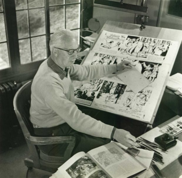 """Prince Valiant"" creator Hal Foster at his drawing table in 1947"
