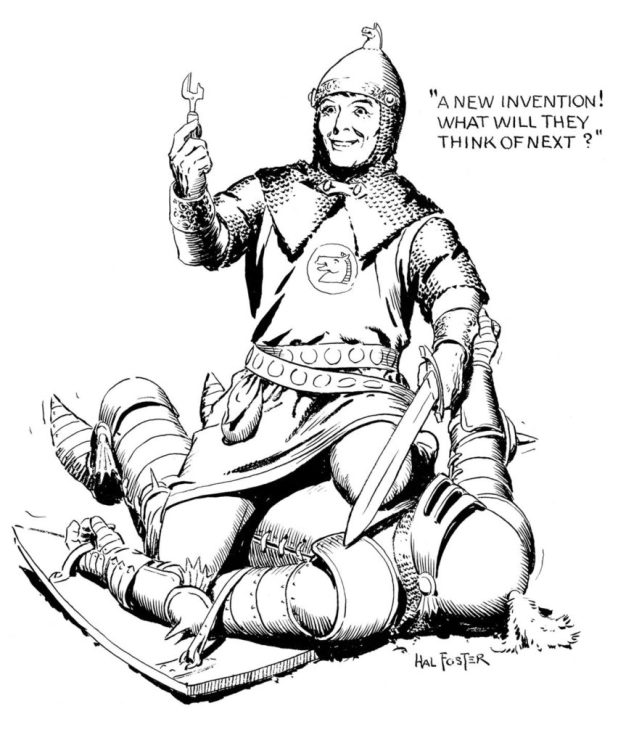 Keeping up with the times: a Prince Valiant gag by Hal Foster for the National Cartoonists Society