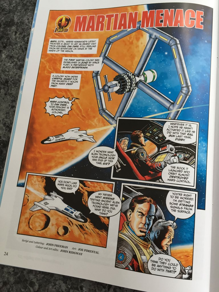 "Much of the background to the Dan Dare audio adventures was based on a story bible originally created for a proposed comic strip revival of the character commissioned by Print Media Productions for STRIP Magazine. Lucas Bowers created some character and uniform designs, while John Ridgway created several spacecraft designs. One strip. ""The Martian Menace"" by John Freeman, Joe Pimenetel and John Ridgway, was completed, eventually published in Spaceship Away."