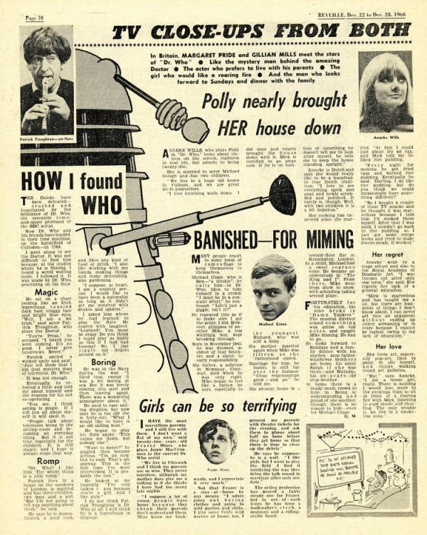 A gossipy Doctor Who item from the magazine Reveille (22nd - 26th December 1966)