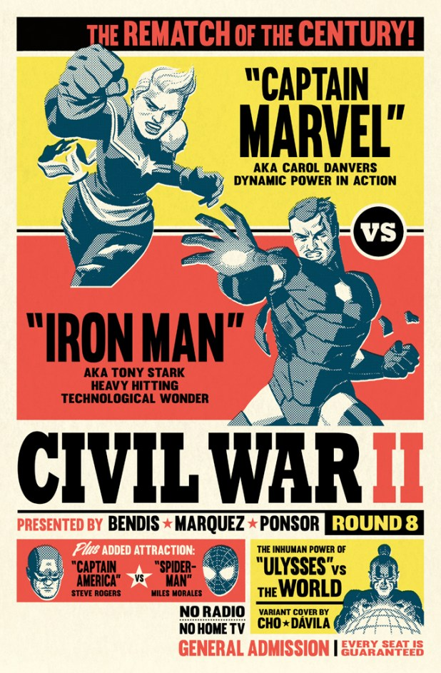 "Michael's favourite ""Civil War II"" cover. ""As I wanted to go out with a bang and go all out on the boxing angle,"" he says."