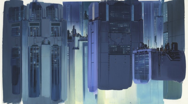 A Hiromasa Ogura watercolour painting for the Ghost in the Shell anime