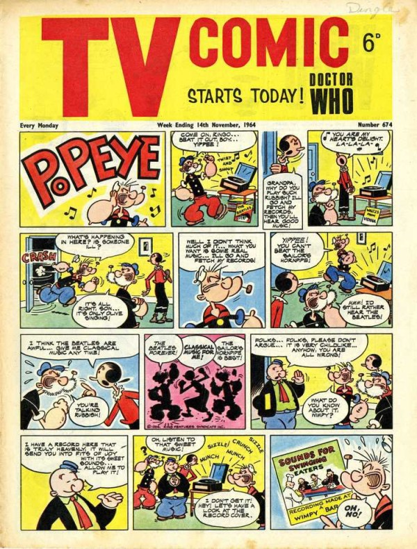 TV Comic Issue 674, cover dated 14th November 1964 – the first issue with a Doctor Who strip