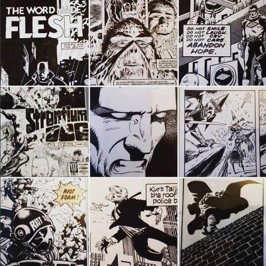 A montage of some of the comic art owned by Nik Pollard, much of it exhibited at London's Cartoon Museum down the years