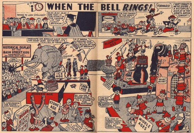 """When the Bell Rings"" - the early incarnation of ""The Bash Street Kids"", a strip that has appeared in every issue of The Beano since 1956"