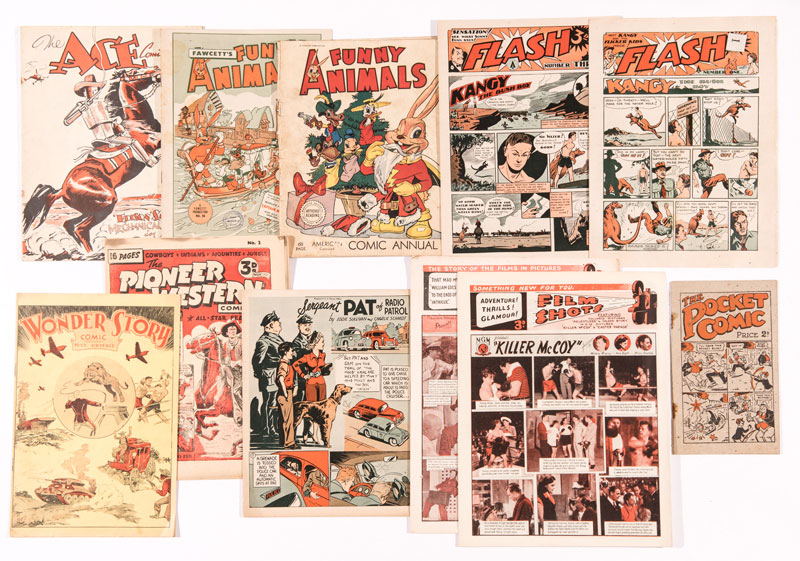 Ace Comic, Fawcett's Funny Animals, Funny Animals American Comic Annual, Flash 1, 3, Pioneer Western Comic 2, Sergeant Pat of Radio Patrol, Wonder-Story Comic, Shots From The Films and Film Shots (The Jolson Story and Easter Parade) and The Pocket Comic