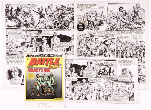 "Charley's War original artwork by Joe Colquhoun from Battle-Action 321 (June 27 1981). Written by Pat Mills It's April 1917. During the battle of Ypres Charley witnesses Captain Snell killing a wounded German soldier in no-man's land during an unofficial truce. The Germans respond with withering fire power whilst Snell metes out 'justice' to his own command 2½ page complete episode artworks (18 x 15"" x 2, 9 x 15"" x 1) With original Battle-Action front page colour layout and acetate overlay"