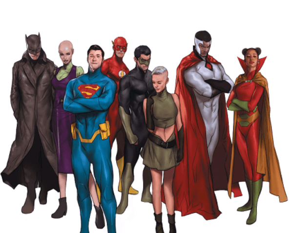 The top DC heroes, by Ben Oliver. © DC