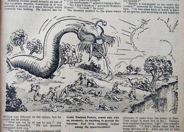 Monkton Powers battles alien nasties (Hotspur)