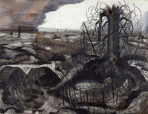 A devastated landscape, pocked with rain-filled shell-holes, 1918, by Paul Nash.