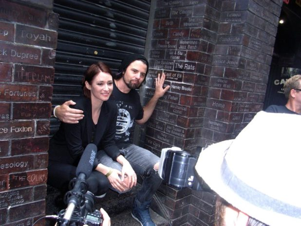 Chyler Leigh and Nathan West get their own brick in the wall on the Cavern Club's Wall of Fame. Photo courtesy Tim Quinn