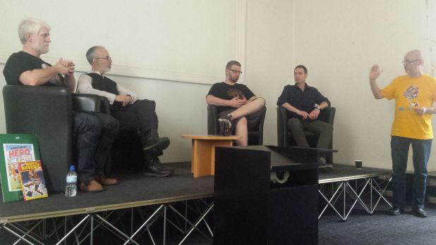 Tim Perkins, Austin Chambers, Tom Ward and Michael Barret talk self publishing at Lancaster Comics Day. Photo: Mark Hetherington
