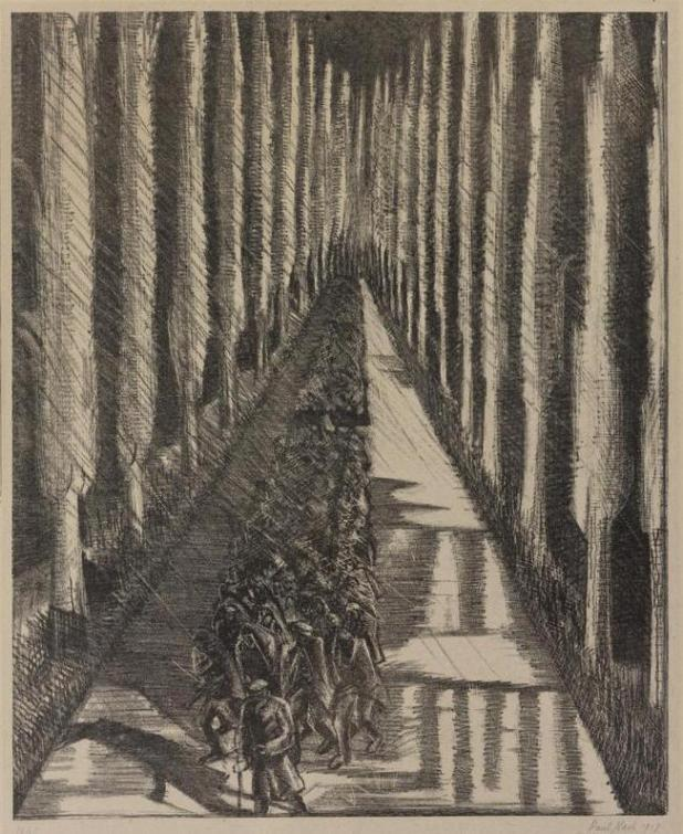 A column of British soldiers marching down the road, 1918, by Paul Nash.