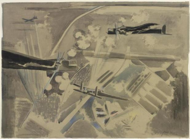 Target Area, Whitley Bombers over Berlin, 1940, by Paul Nash