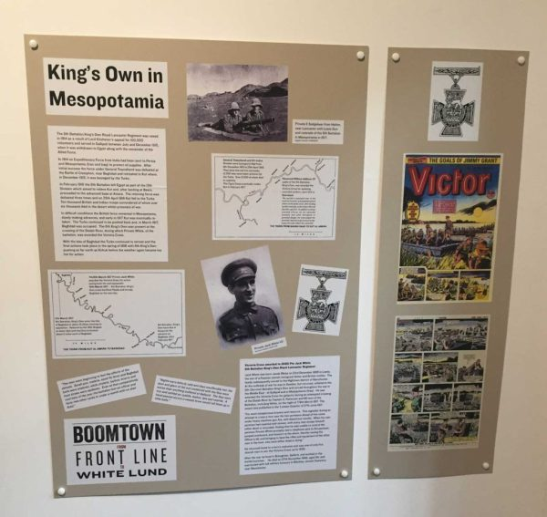 """The display board at the """"Boom Town"""" featuring Victoria Cross winner Jack White and Victor 1358"""