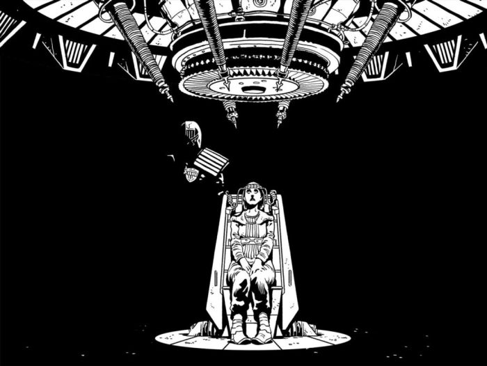 "Art from ""Judge Dredd: Ghosts"", written by Michael Carroll, art by Mark Sexton. The strip ran in 2000AD Progs 1963 - 1968"