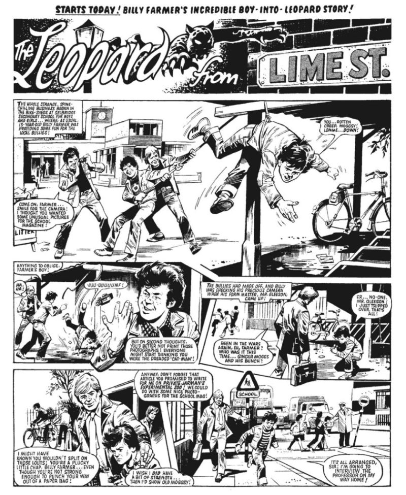 """The opening page of the first episode of """"The Leopard from Lime Street"""" art by Mike Western"""