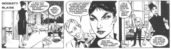 "Jim Holdaway's inks or an episode of the first Modesty Blaise story ""La Machine"""